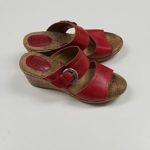 B.O.C. Red Leather Cork Wedge Sandal